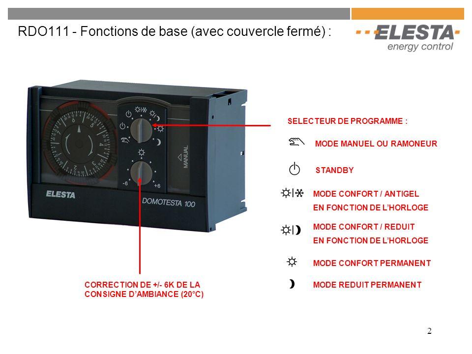 RDO111 - Fonctions de base (avec couvercle fermé) :