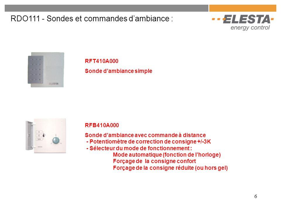 RDO111 - Sondes et commandes d'ambiance :