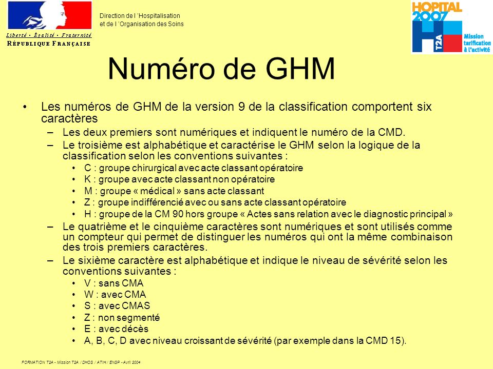 Numéro de GHM Les numéros de GHM de la version 9 de la classification comportent six caractères.