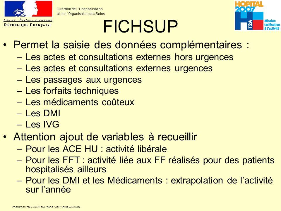 FICHSUP Permet la saisie des données complémentaires :