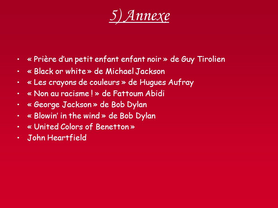 5) Annexe « Prière d'un petit enfant enfant noir » de Guy Tirolien