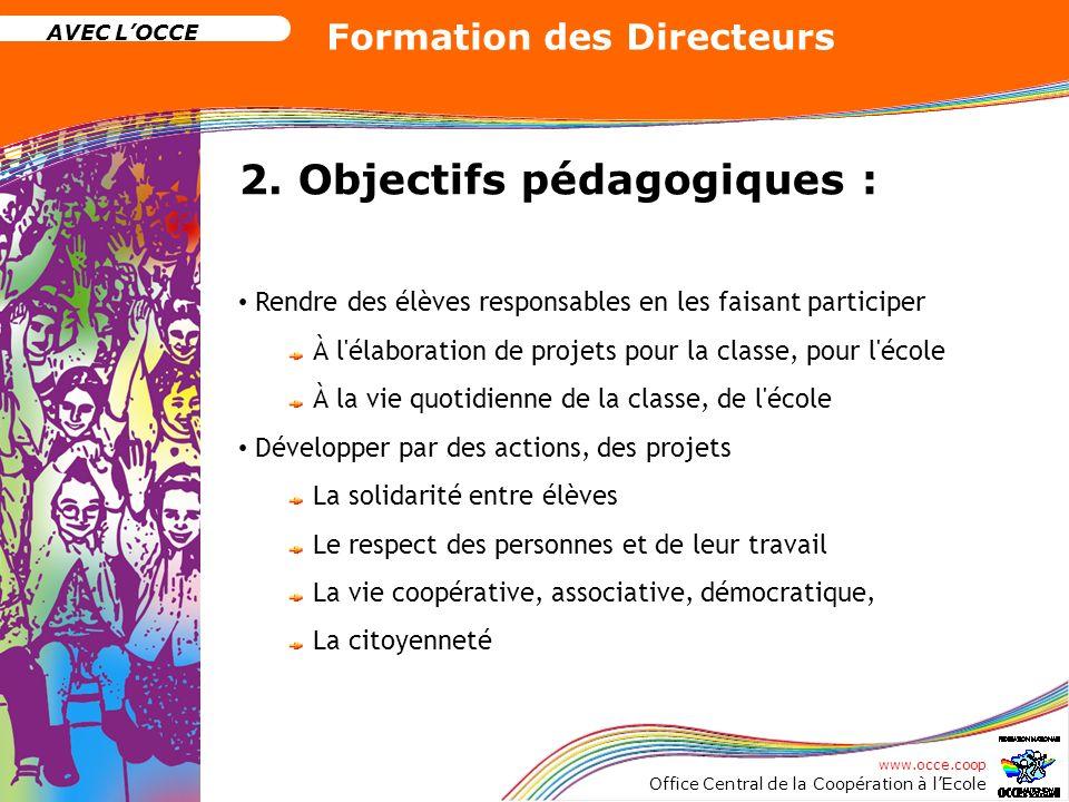 2. Objectifs pédagogiques :