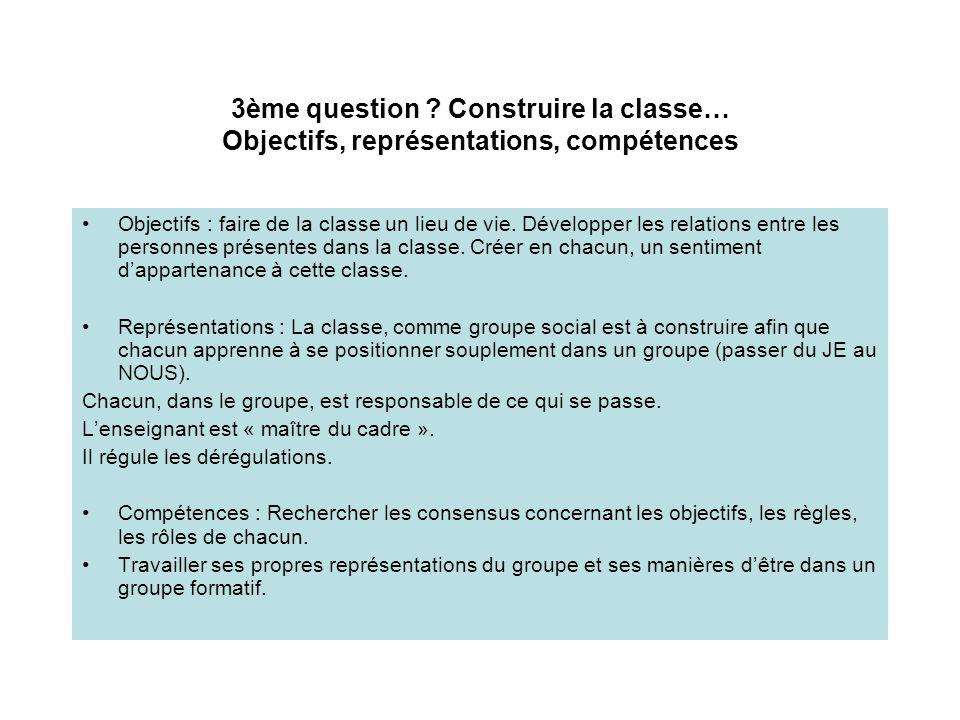 3ème question Construire la classe… Objectifs, représentations, compétences