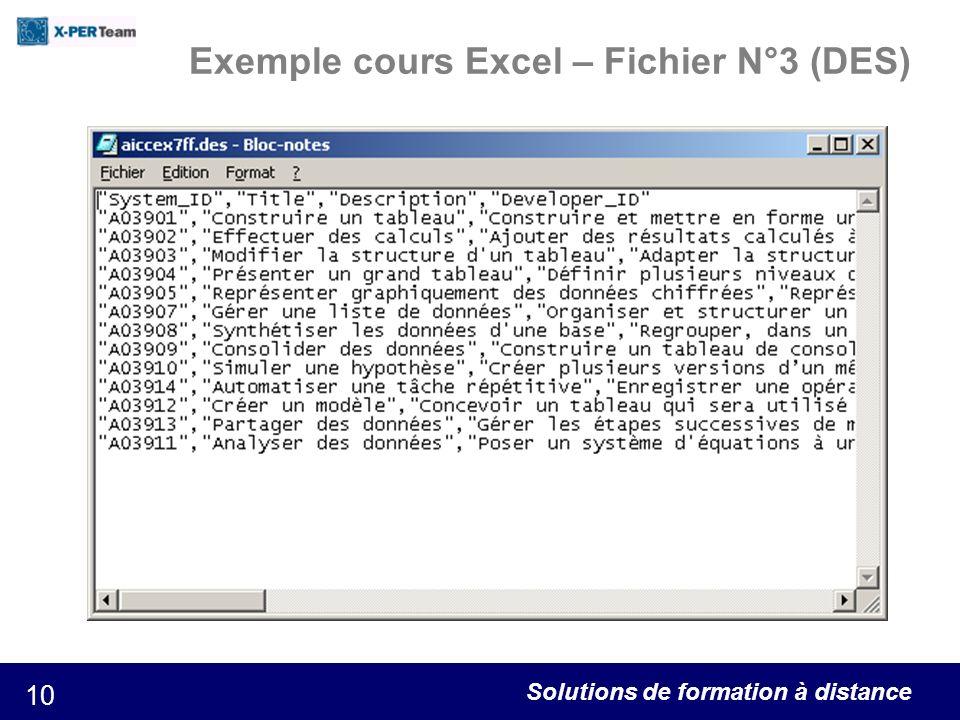 Exemple cours Excel – Fichier N°3 (DES)