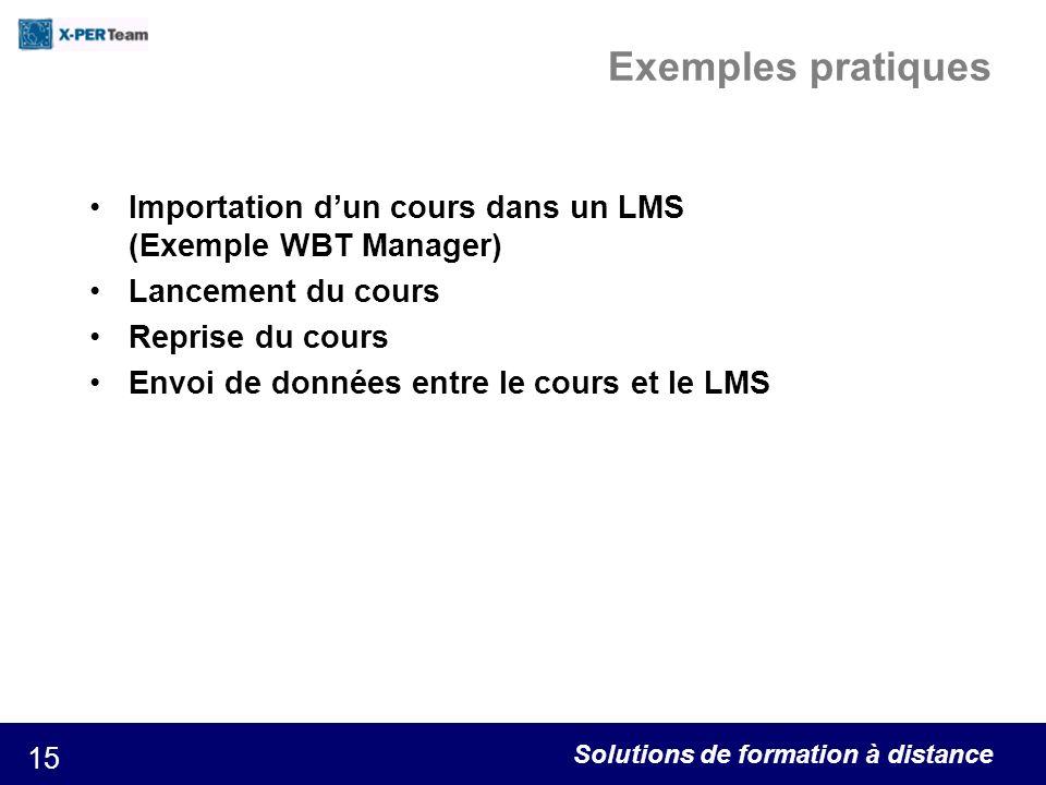 Exemples pratiques Importation d'un cours dans un LMS (Exemple WBT Manager) Lancement du cours. Reprise du cours.
