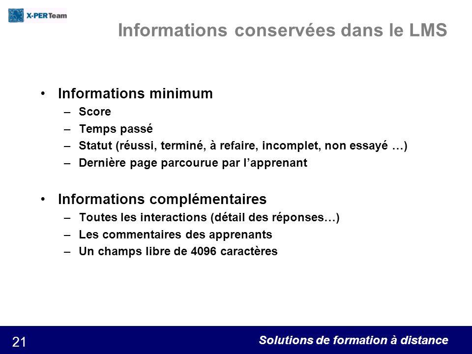 Informations conservées dans le LMS