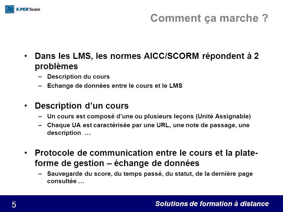 Comment ça marche Dans les LMS, les normes AICC/SCORM répondent à 2 problèmes. Description du cours.