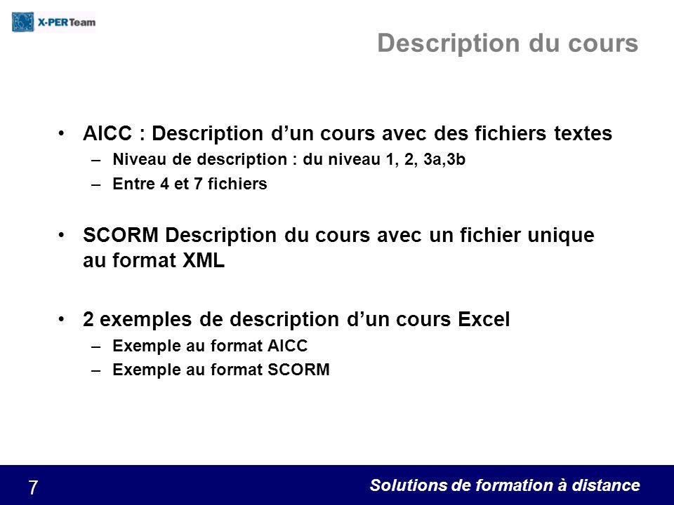 Description du cours AICC : Description d'un cours avec des fichiers textes. Niveau de description : du niveau 1, 2, 3a,3b.