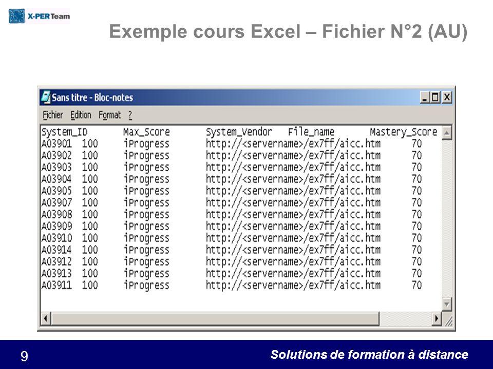 Exemple cours Excel – Fichier N°2 (AU)