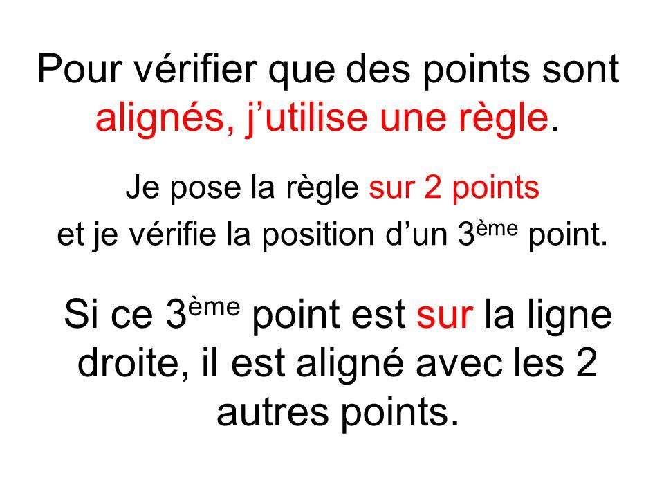 Pour vérifier que des points sont alignés, j'utilise une règle.