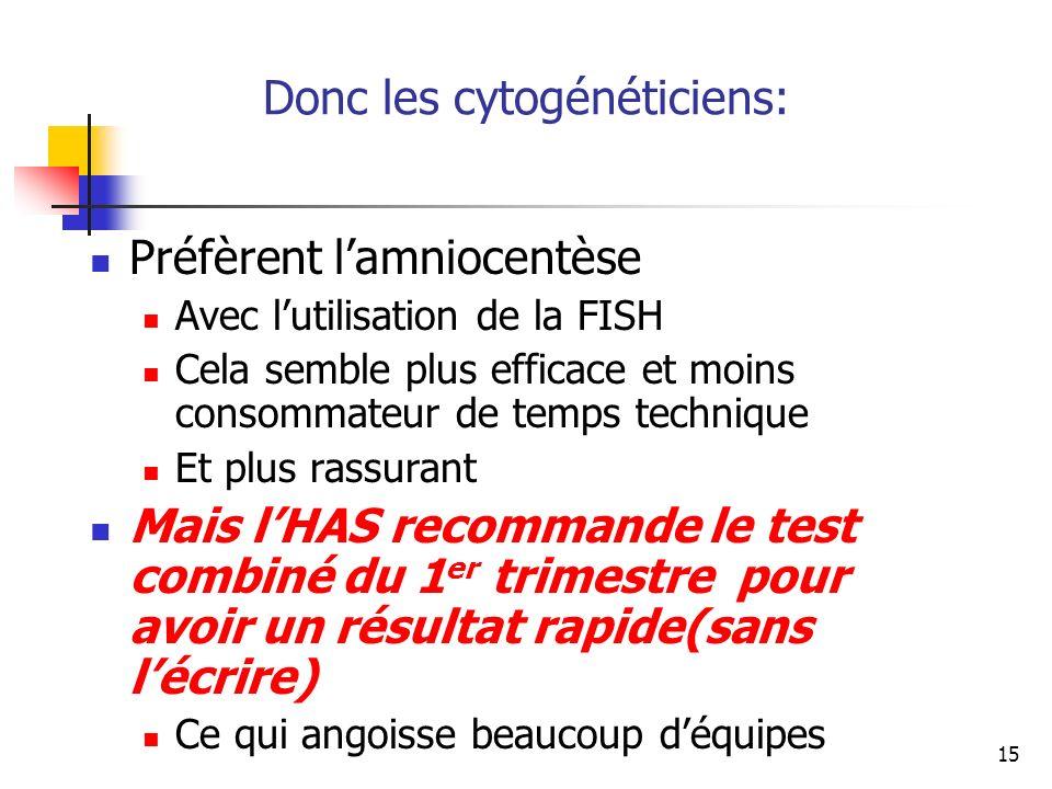 Donc les cytogénéticiens: