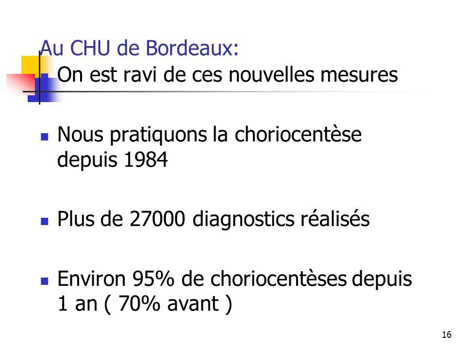 Au CHU de Bordeaux: On est ravi de ces nouvelles mesures. Nous pratiquons la choriocentèse depuis 1984.
