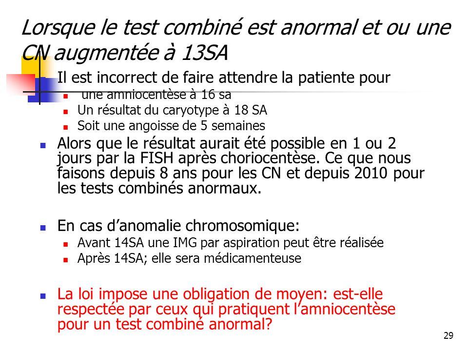 Lorsque le test combiné est anormal et ou une CN augmentée à 13SA