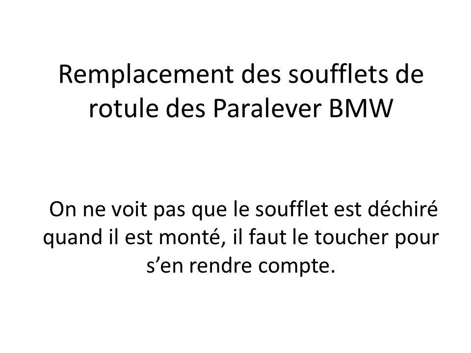 Remplacement des soufflets de rotule des Paralever BMW On ne voit pas que le soufflet est déchiré quand il est monté, il faut le toucher pour s'en rendre compte.