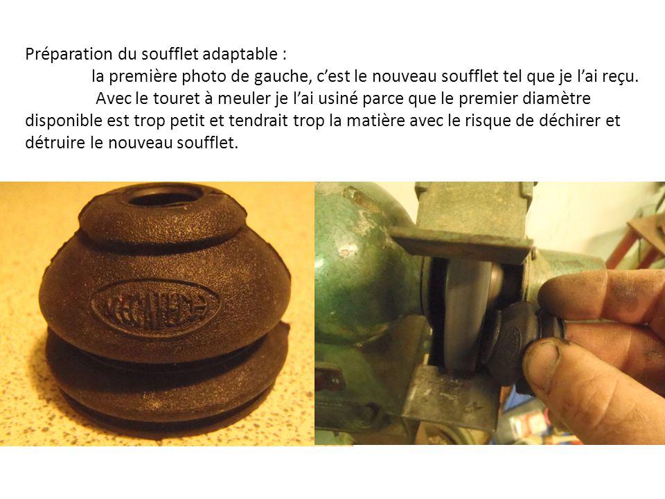 Préparation du soufflet adaptable : la première photo de gauche, c'est le nouveau soufflet tel que je l'ai reçu.