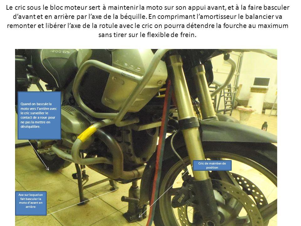 Le cric sous le bloc moteur sert à maintenir la moto sur son appui avant, et à la faire basculer d'avant et en arrière par l'axe de la béquille. En comprimant l'amortisseur le balancier va remonter et libérer l'axe de la rotule avec le cric on pourra détendre la fourche au maximum sans tirer sur le flexible de frein.