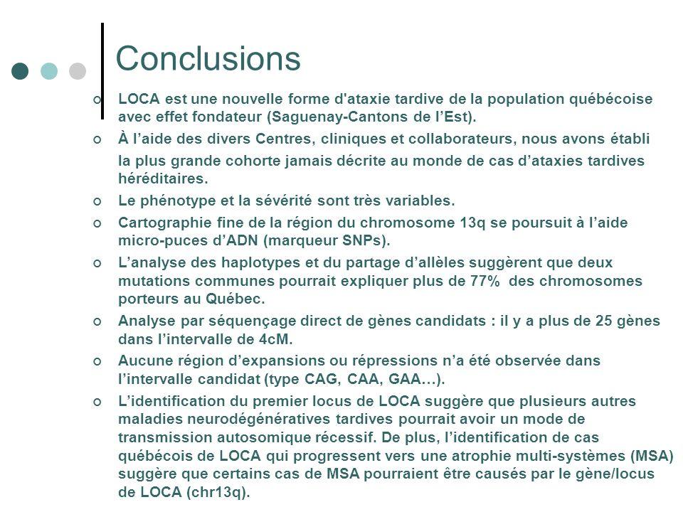 Conclusions LOCA est une nouvelle forme d ataxie tardive de la population québécoise avec effet fondateur (Saguenay-Cantons de l'Est).