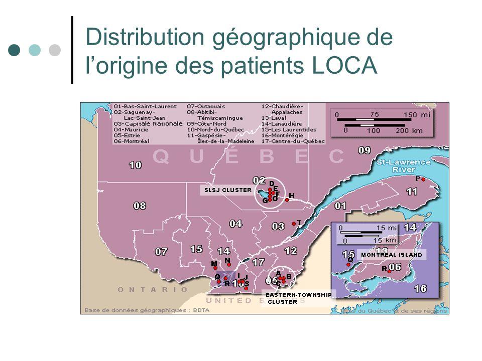 Distribution géographique de l'origine des patients LOCA
