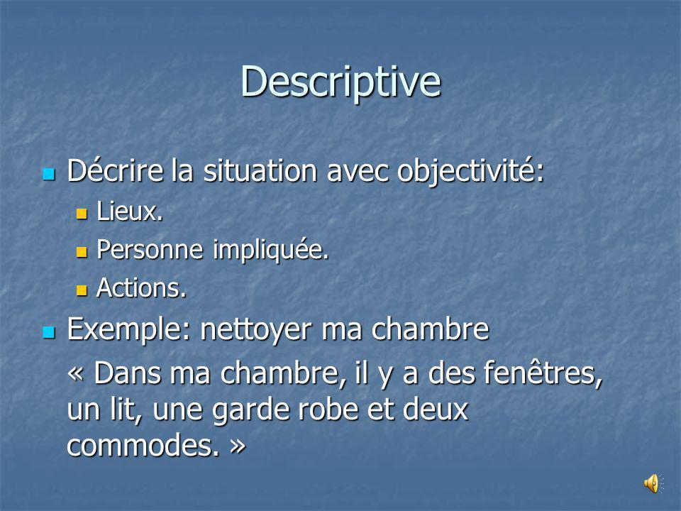 Descriptive Décrire la situation avec objectivité: