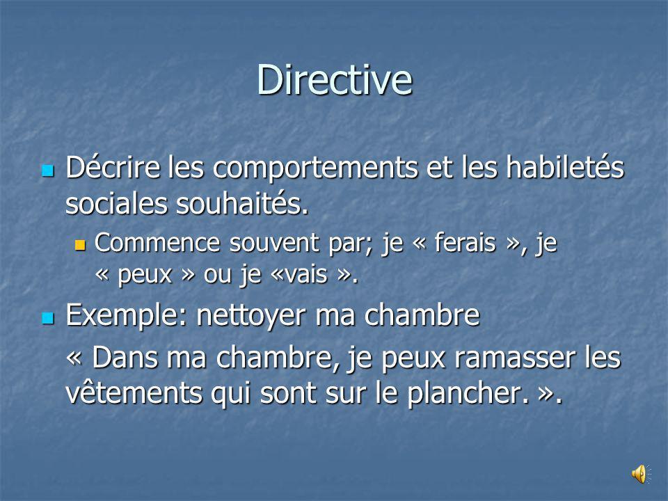 Directive Décrire les comportements et les habiletés sociales souhaités. Commence souvent par; je « ferais », je « peux » ou je «vais ».