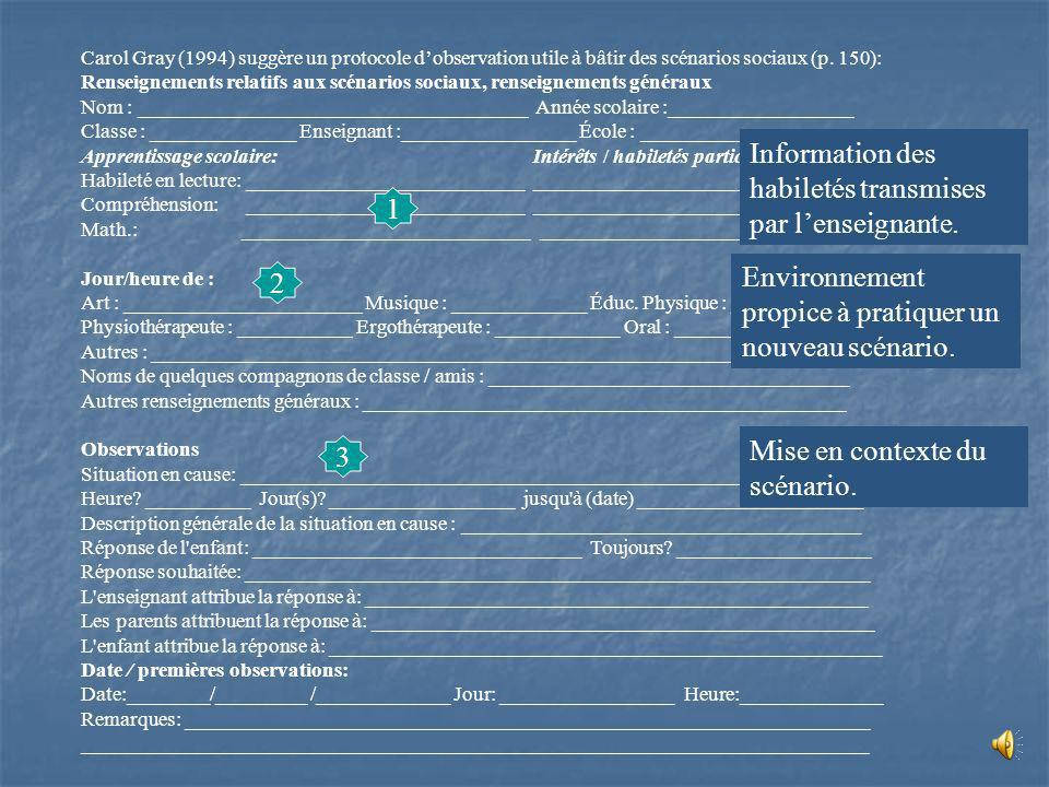 Information des habiletés transmises par l'enseignante.