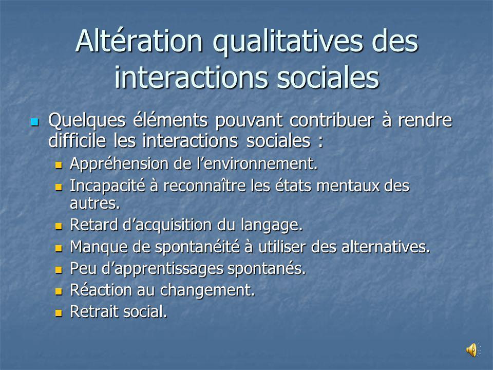 Altération qualitatives des interactions sociales