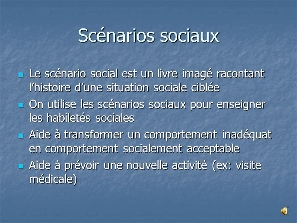 Scénarios sociaux Le scénario social est un livre imagé racontant l'histoire d'une situation sociale ciblée.