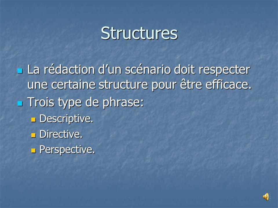 Structures La rédaction d'un scénario doit respecter une certaine structure pour être efficace. Trois type de phrase: