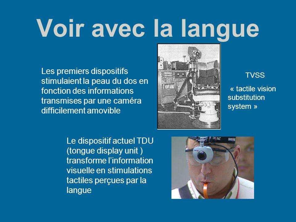 Voir avec la langue Les premiers dispositifs stimulaient la peau du dos en fonction des informations transmises par une caméra difficilement amovible.