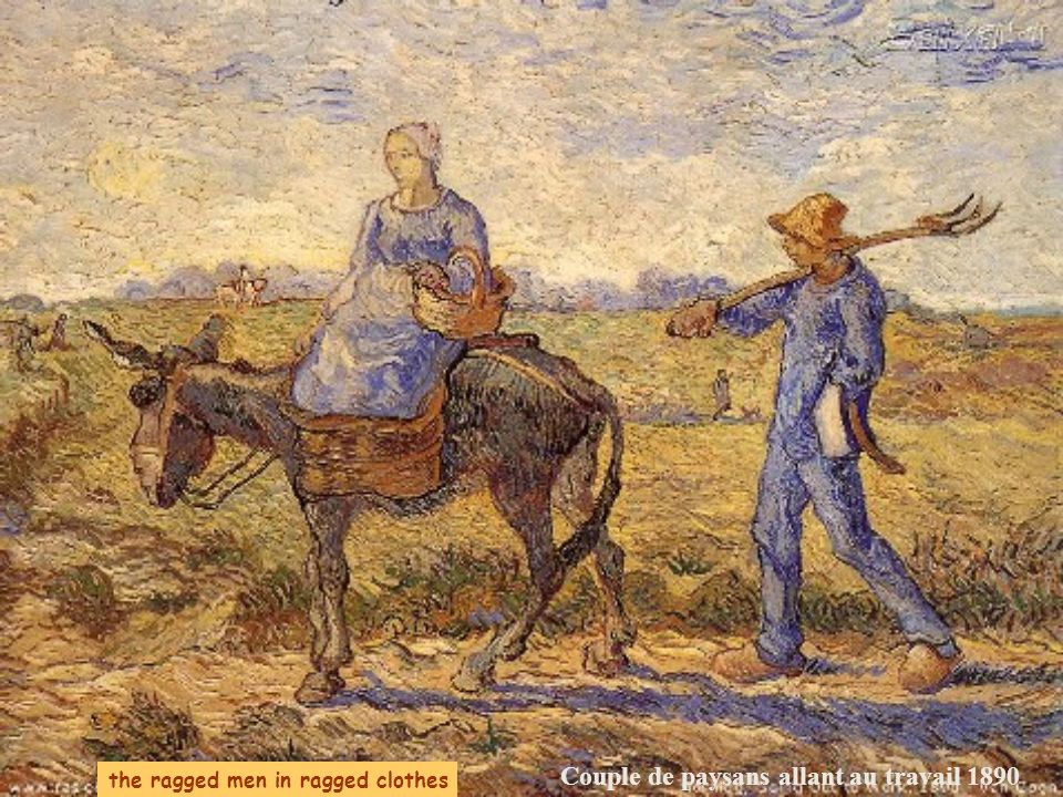 Couple de paysans allant au travail 1890