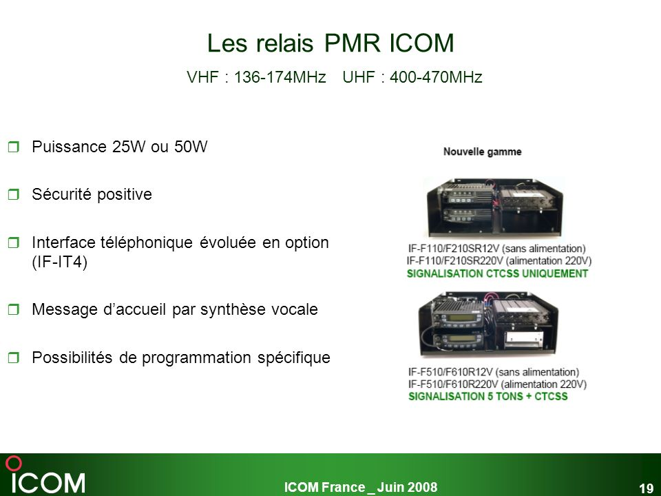 Les relais PMR ICOM VHF : 136-174MHz UHF : 400-470MHz