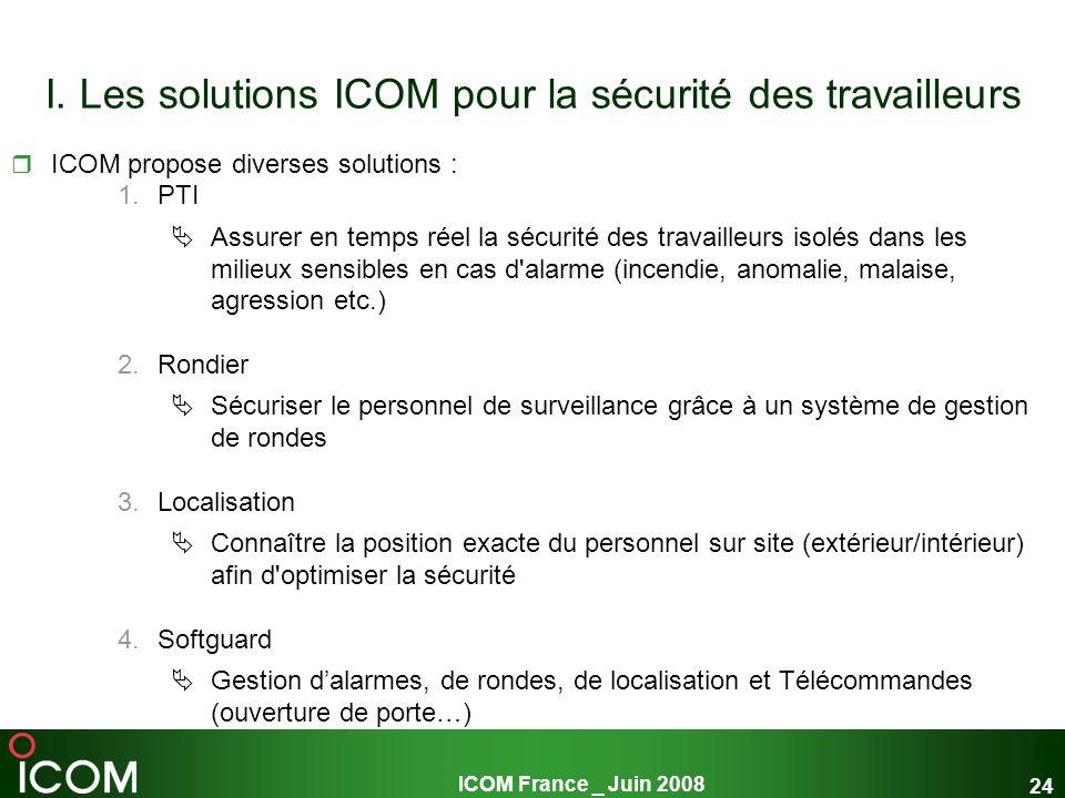 I. Les solutions ICOM pour la sécurité des travailleurs