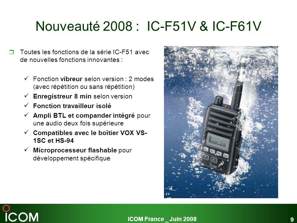 Nouveauté 2008 : IC-F51V & IC-F61V