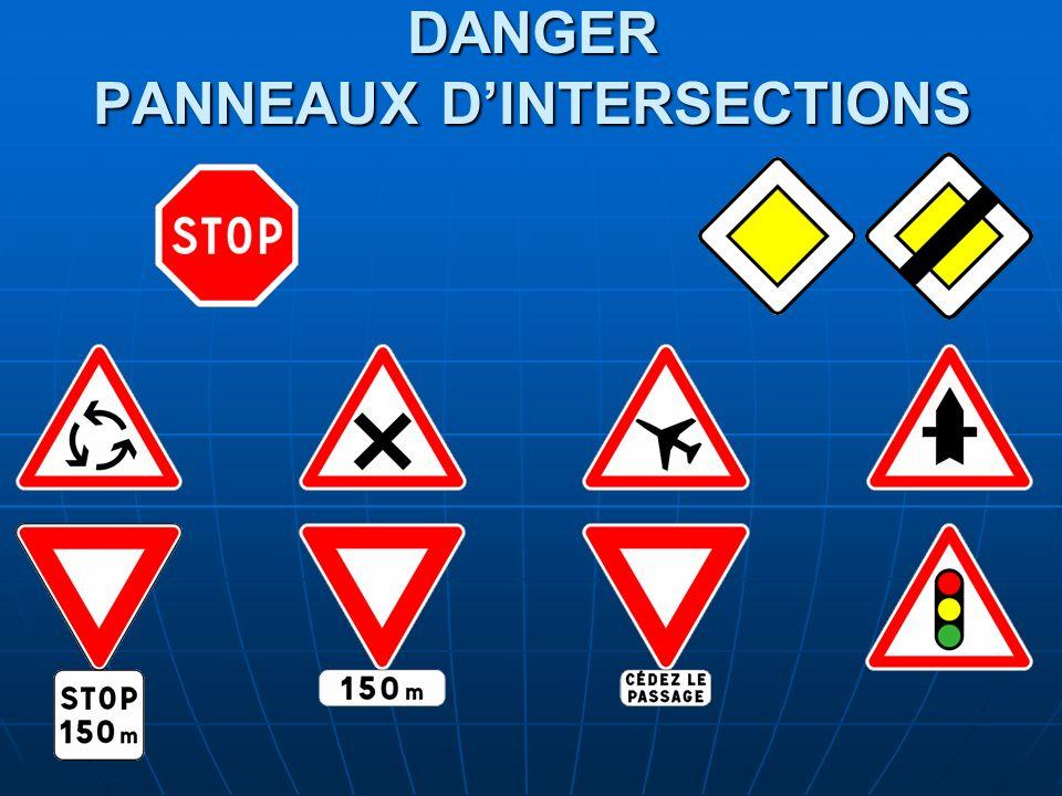 DANGER PANNEAUX D'INTERSECTIONS
