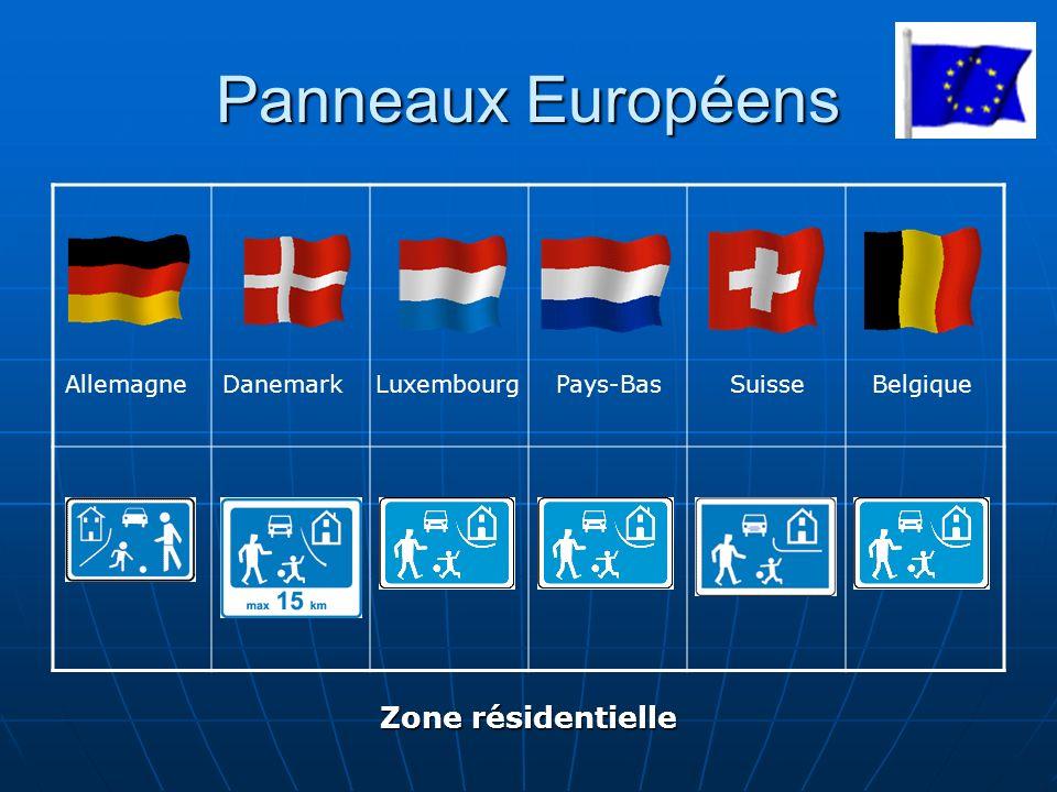 Panneaux Européens Zone résidentielle Allemagne Danemark Luxembourg