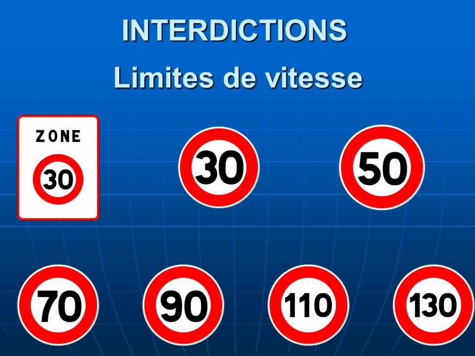 INTERDICTIONS Limites de vitesse