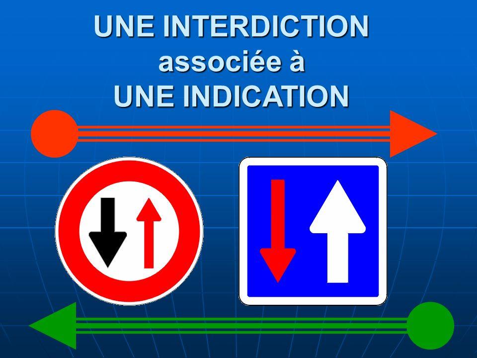 UNE INTERDICTION associée à UNE INDICATION