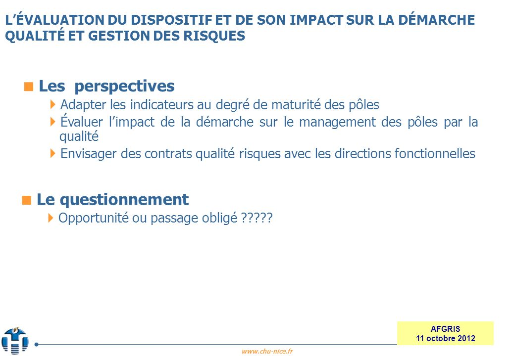 Les perspectives Le questionnement