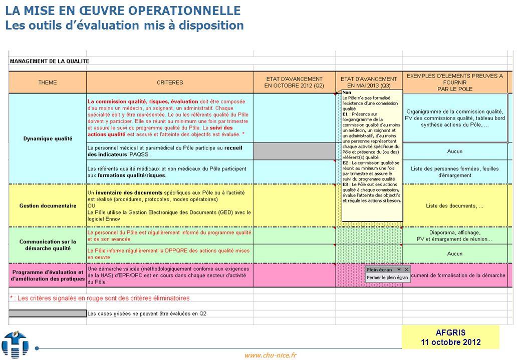 LA MISE EN ŒUVRE OPERATIONNELLE Les outils d'évaluation mis à disposition