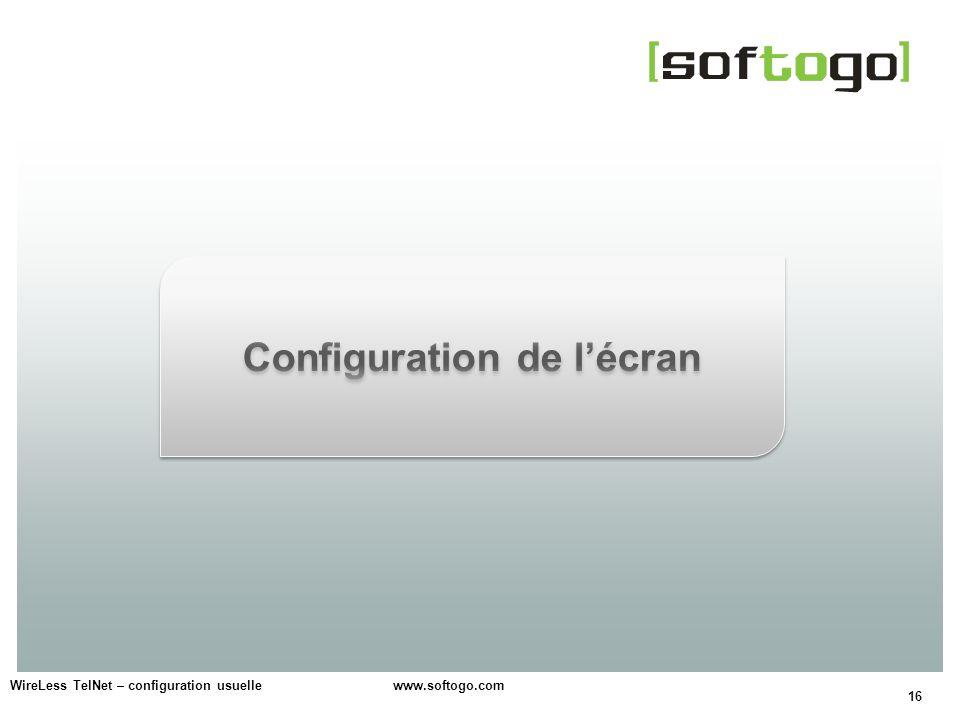 Configuration de l'écran