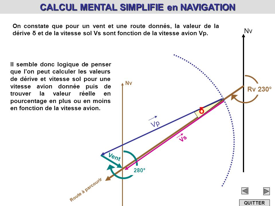 CALCUL MENTAL SIMPLIFIE en NAVIGATION
