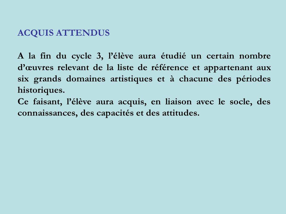 ACQUIS ATTENDUS