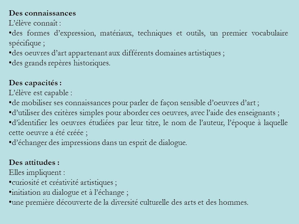 Des connaissancesL'élève connaît : des formes d'expression, matériaux, techniques et outils, un premier vocabulaire spécifique ;
