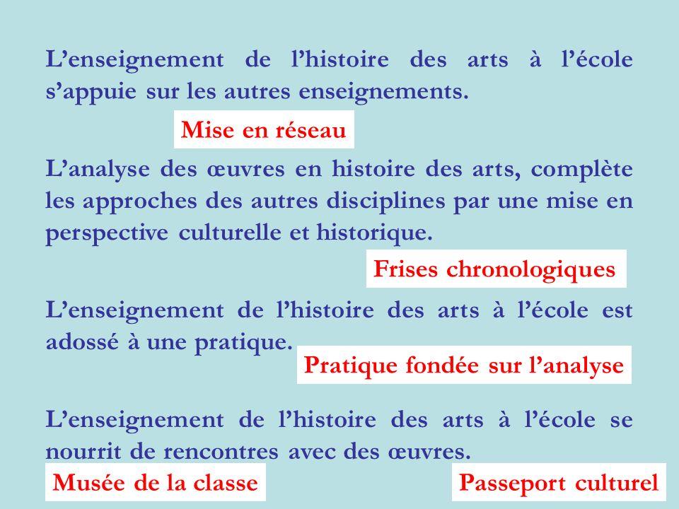 L'enseignement de l'histoire des arts à l'école s'appuie sur les autres enseignements.
