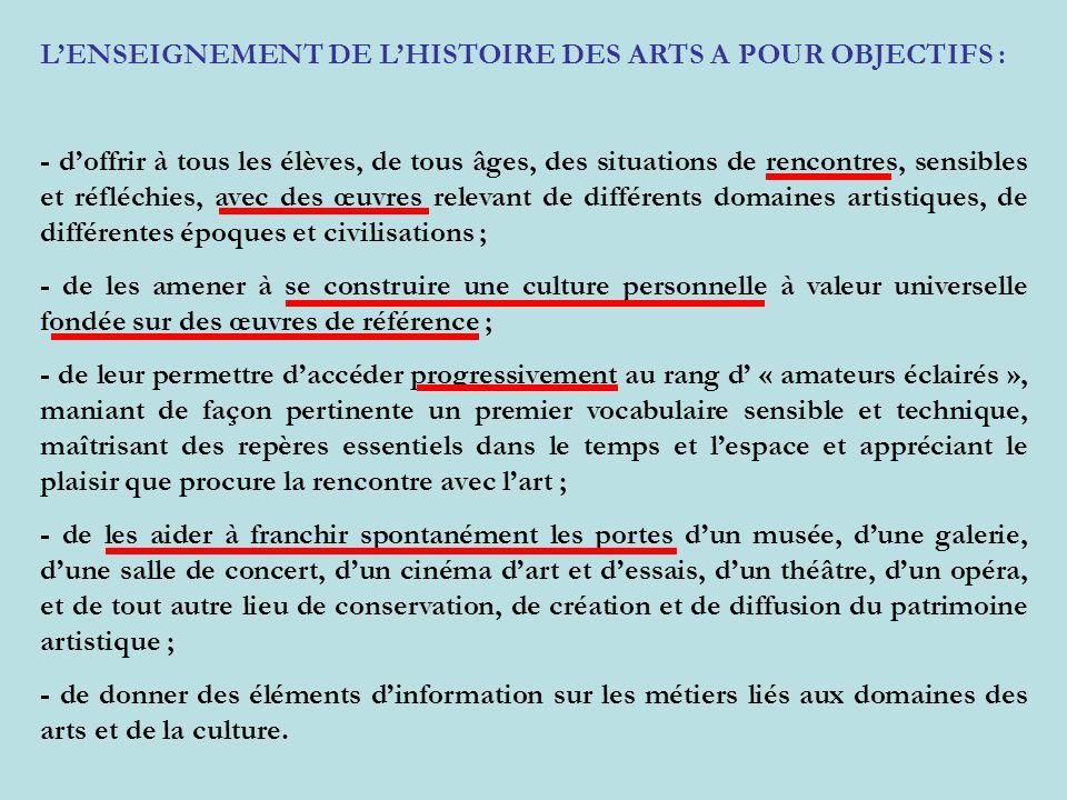 L'ENSEIGNEMENT DE L'HISTOIRE DES ARTS A POUR OBJECTIFS :