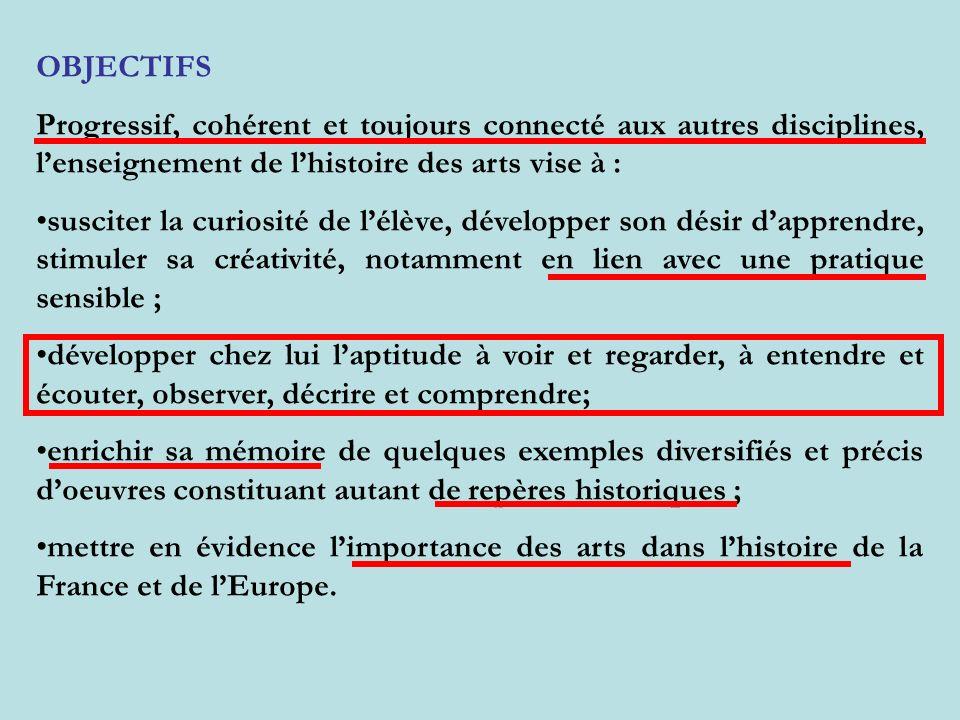 OBJECTIFSProgressif, cohérent et toujours connecté aux autres disciplines, l'enseignement de l'histoire des arts vise à :