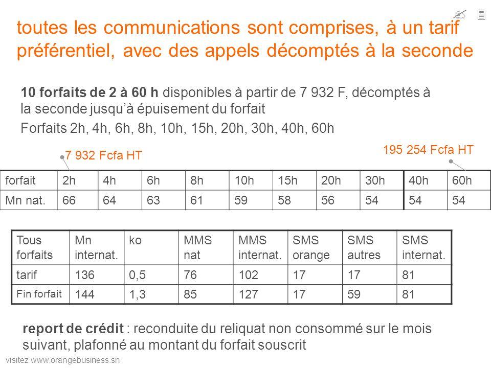   toutes les communications sont comprises, à un tarif préférentiel, avec des appels décomptés à la seconde.