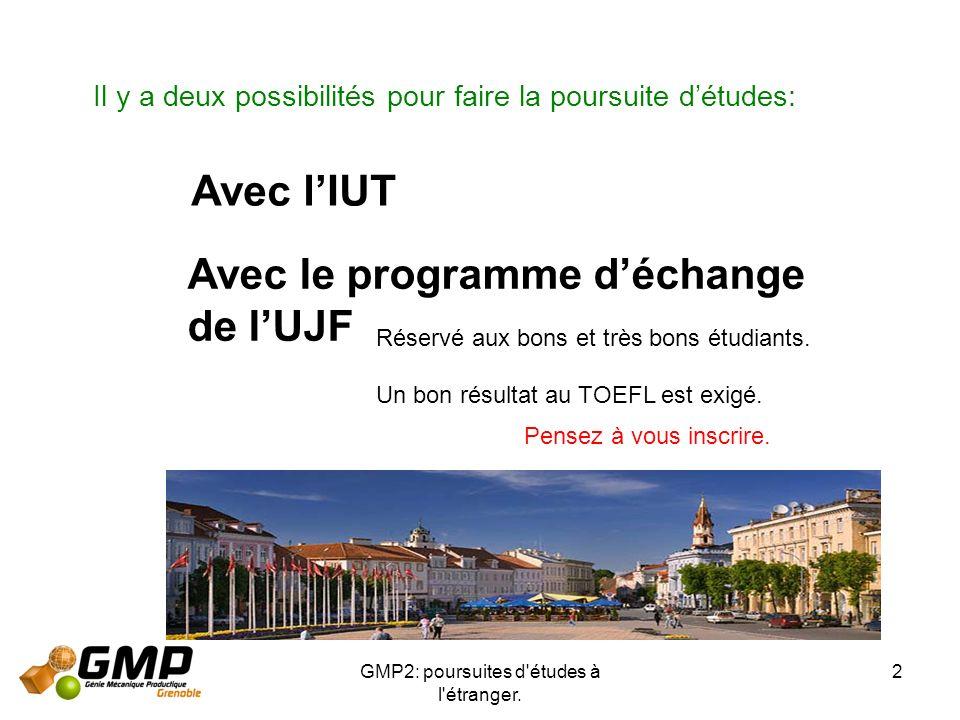 GMP2: poursuites d études à l étranger.