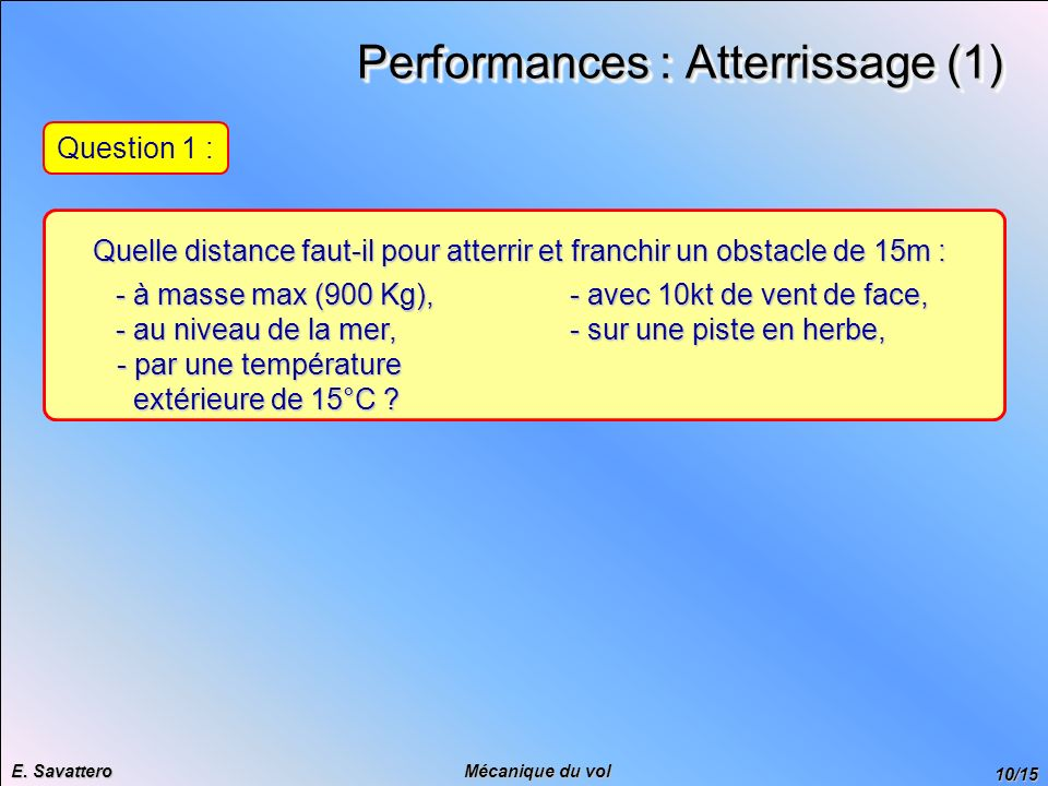 Performances : Atterrissage (1)