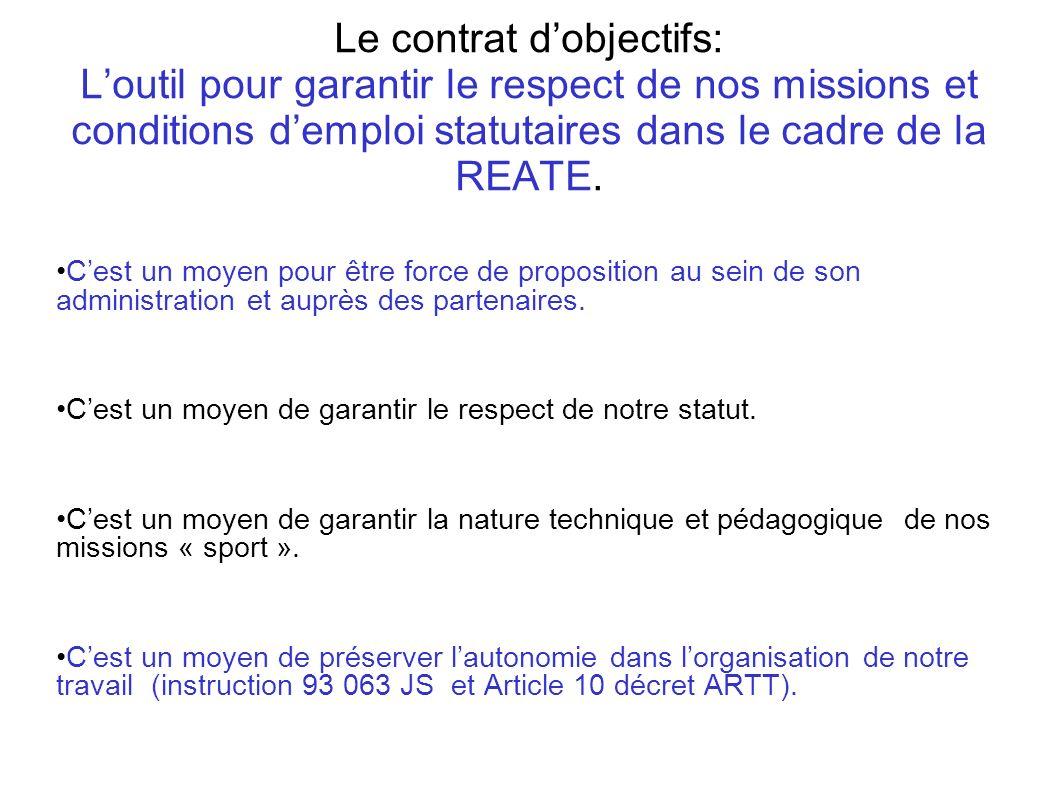 Le contrat d'objectifs: L'outil pour garantir le respect de nos missions et conditions d'emploi statutaires dans le cadre de la REATE.
